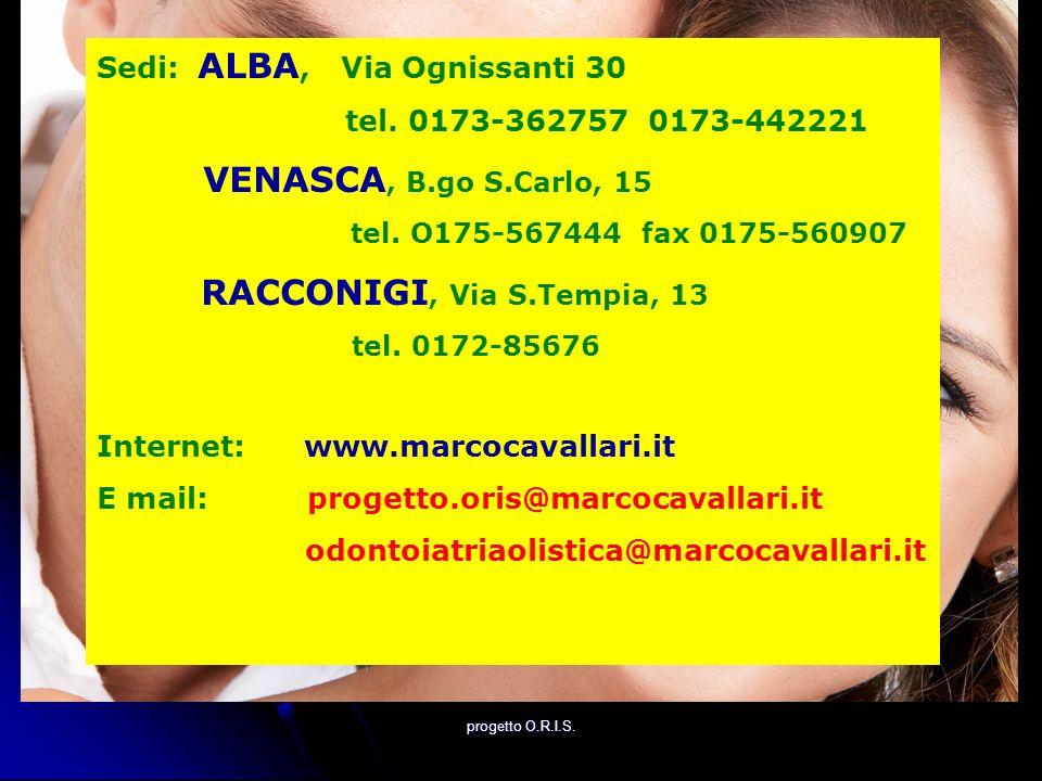 Sedi: ALBA, Via Ognissanti 30 tel. 0173-362757 0173-442221 VENASCA, B.go S.Carlo, 15 tel. O175-567444 fax 0175-560907 RACCONIGI, Via S.Tempia, 13 tel.