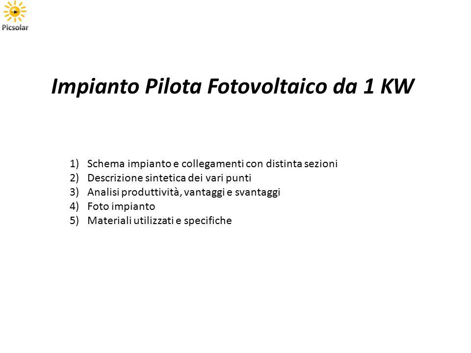 Impianto Pilota Fotovoltaico da 1 KW 1)Schema impianto e collegamenti con distinta sezioni 2)Descrizione sintetica dei vari punti 3)Analisi produttività, vantaggi e svantaggi 4)Foto impianto 5)Materiali utilizzati e specifiche