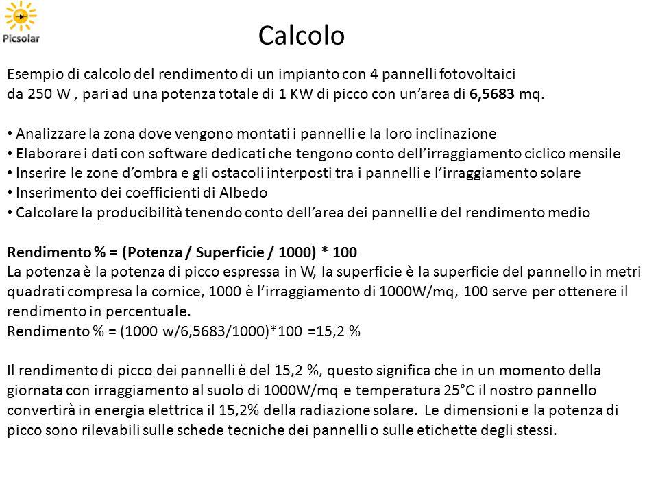 Esempio di calcolo del rendimento di un impianto con 4 pannelli fotovoltaici da 250 W, pari ad una potenza totale di 1 KW di picco con un'area di 6,5683 mq.