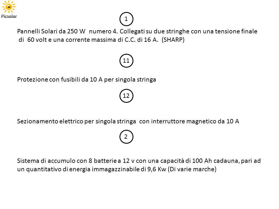 Pannelli Solari da 250 W numero 4. Collegati su due stringhe con una tensione finale di 60 volt e una corrente massima di C.C. di 16 A. (SHARP) 1 11 P