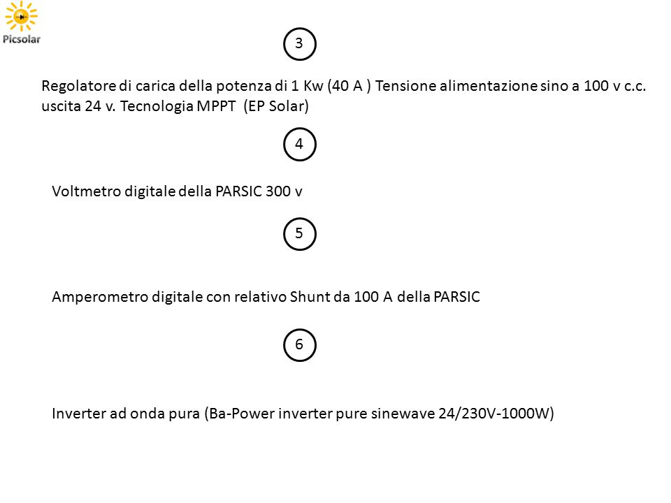 3 Regolatore di carica della potenza di 1 Kw (40 A ) Tensione alimentazione sino a 100 v c.c. uscita 24 v. Tecnologia MPPT (EP Solar) 4 Voltmetro digi