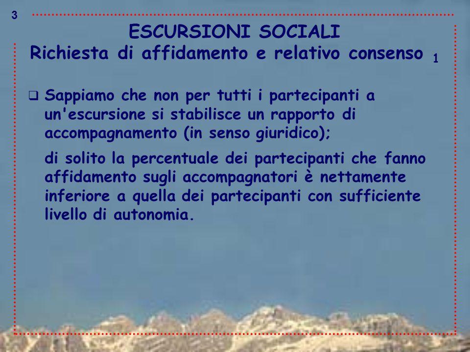ESCURSIONI SOCIALI  Sappiamo che non per tutti i partecipanti a un'escursione si stabilisce un rapporto di accompagnamento (in senso giuridico); di s