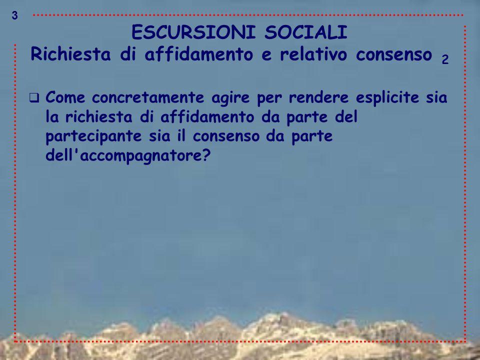 ESCURSIONI SOCIALI  Come concretamente agire per rendere esplicite sia la richiesta di affidamento da parte del partecipante sia il consenso da parte