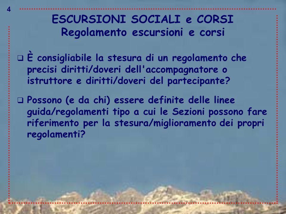 ESCURSIONI SOCIALI e CORSI  È consigliabile la stesura di un regolamento che precisi diritti/doveri dell'accompagnatore o istruttore e diritti/doveri