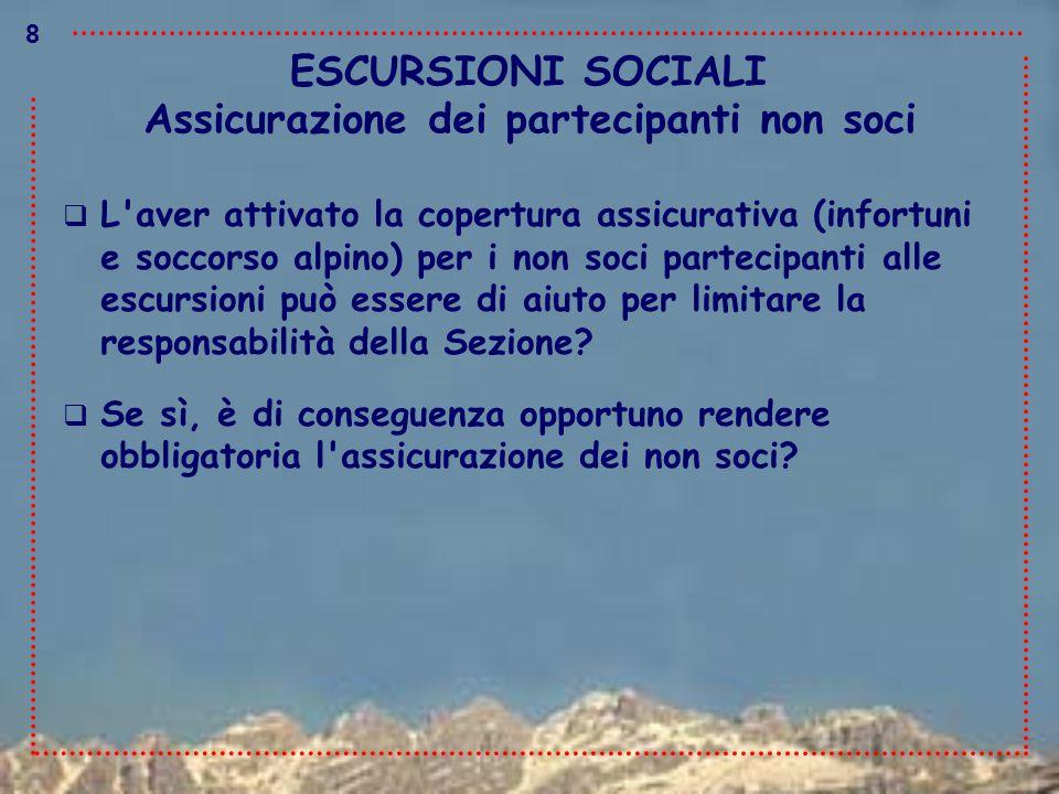 ESCURSIONI SOCIALI  L'aver attivato la copertura assicurativa (infortuni e soccorso alpino) per i non soci partecipanti alle escursioni può essere di