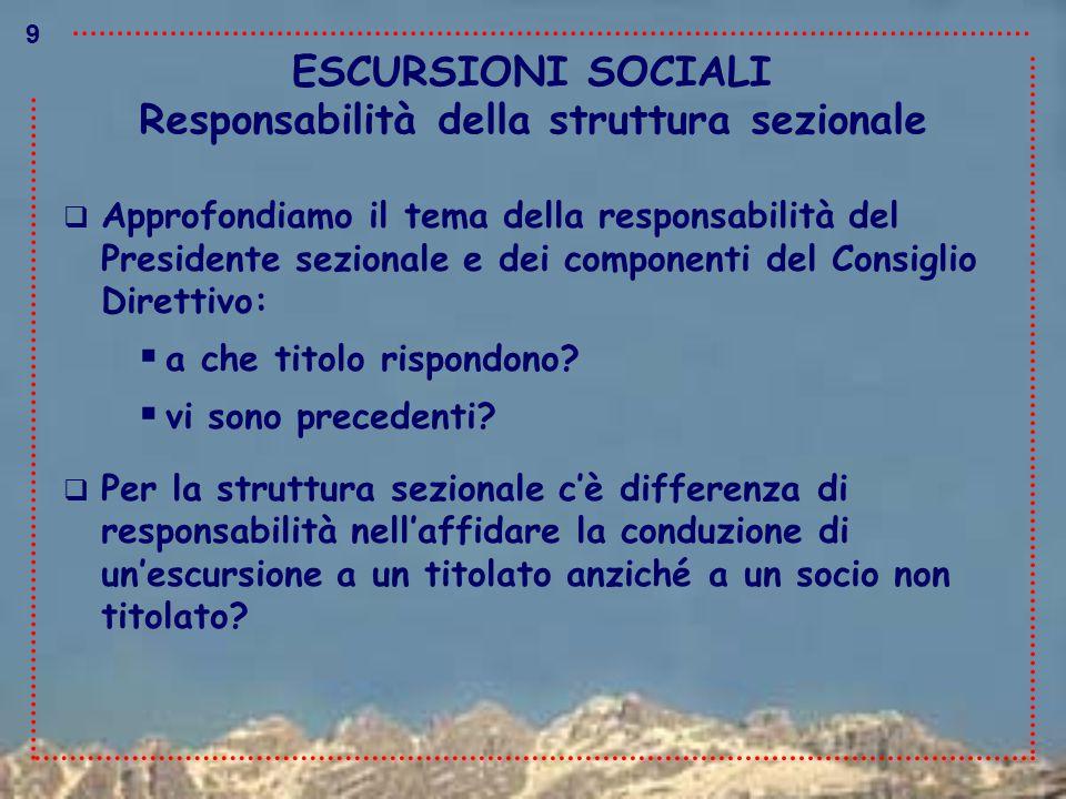ESCURSIONI SOCIALI  Approfondiamo il tema della responsabilità del Presidente sezionale e dei componenti del Consiglio Direttivo:  a che titolo risp