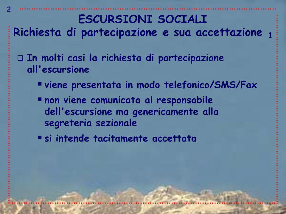 ESCURSIONI SOCIALI Richiesta di partecipazione e sua accettazione 1  In molti casi la richiesta di partecipazione all'escursione  viene presentata i