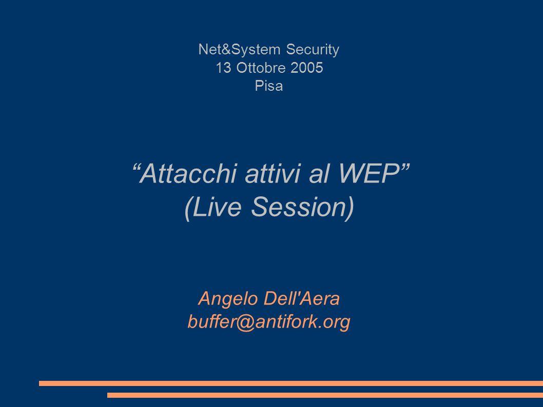 Net&System Security 13 Ottobre 2005 Pisa Attacchi attivi al WEP (Live Session) Angelo Dell Aera buffer@antifork.org