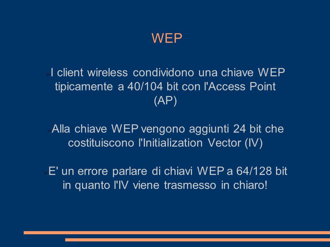 WEP ➢ I client wireless condividono una chiave WEP tipicamente a 40/104 bit con l Access Point (AP) ➢ Alla chiave WEP vengono aggiunti 24 bit che costituiscono l Initialization Vector (IV) ➢ E un errore parlare di chiavi WEP a 64/128 bit in quanto l IV viene trasmesso in chiaro!