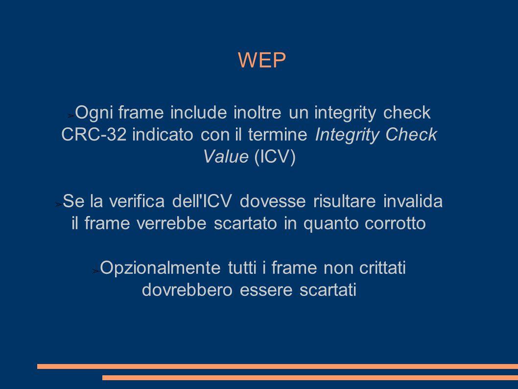 WEP ➢ Ogni frame include inoltre un integrity check CRC-32 indicato con il termine Integrity Check Value (ICV) ➢ Se la verifica dell ICV dovesse risultare invalida il frame verrebbe scartato in quanto corrotto ➢ Opzionalmente tutti i frame non crittati dovrebbero essere scartati