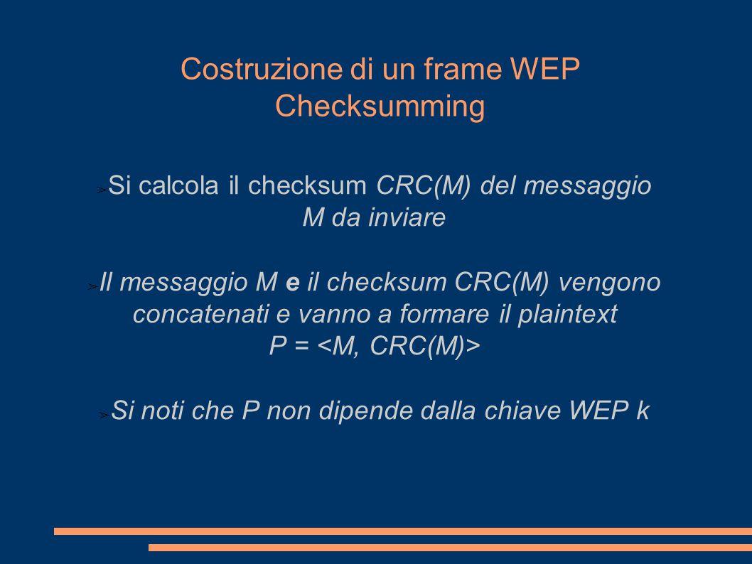 Costruzione di un frame WEP Checksumming ➢ Si calcola il checksum CRC(M) del messaggio M da inviare ➢ Il messaggio M e il checksum CRC(M) vengono concatenati e vanno a formare il plaintext P = ➢ Si noti che P non dipende dalla chiave WEP k