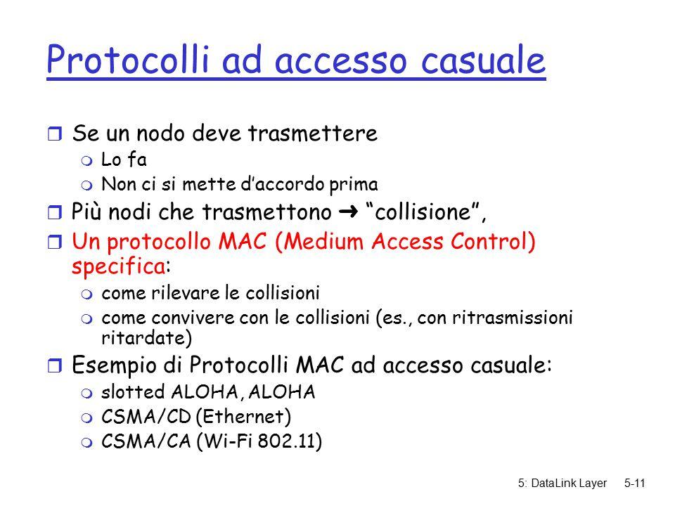 5: DataLink Layer5-11 Protocolli ad accesso casuale r Se un nodo deve trasmettere m Lo fa m Non ci si mette d'accordo prima  Più nodi che trasmettono ➜ collisione , r Un protocollo MAC (Medium Access Control) specifica: m come rilevare le collisioni m come convivere con le collisioni (es., con ritrasmissioni ritardate) r Esempio di Protocolli MAC ad accesso casuale: m slotted ALOHA, ALOHA m CSMA/CD (Ethernet) m CSMA/CA (Wi-Fi 802.11)