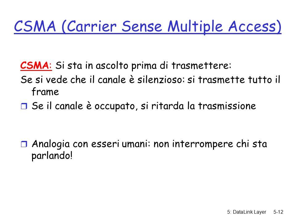 5: DataLink Layer5-12 CSMA (Carrier Sense Multiple Access) CSMA: Si sta in ascolto prima di trasmettere: Se si vede che il canale è silenzioso: si trasmette tutto il frame r Se il canale è occupato, si ritarda la trasmissione r Analogia con esseri umani: non interrompere chi sta parlando!