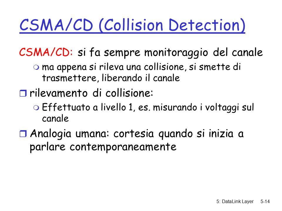 5: DataLink Layer5-14 CSMA/CD (Collision Detection) CSMA/CD: si fa sempre monitoraggio del canale m ma appena si rileva una collisione, si smette di trasmettere, liberando il canale r rilevamento di collisione: m Effettuato a livello 1, es.