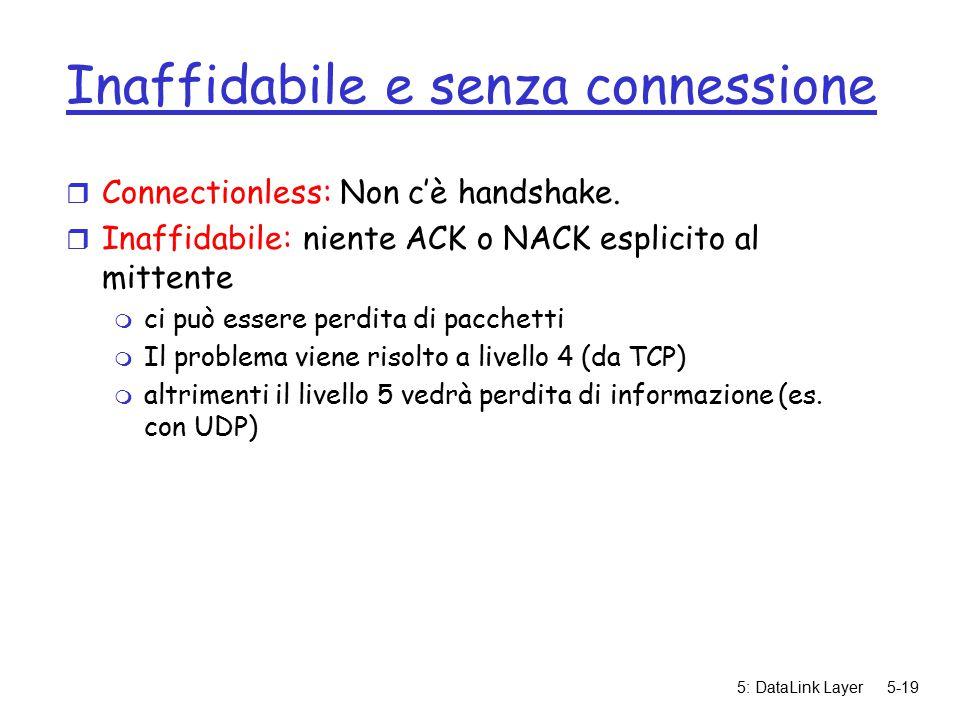 5: DataLink Layer5-19 Inaffidabile e senza connessione r Connectionless: Non c'è handshake.