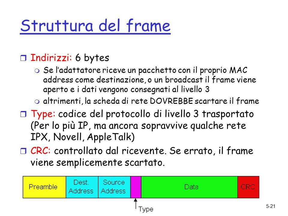 5: DataLink Layer5-21 Struttura del frame r Indirizzi: 6 bytes m Se l'adattatore riceve un pacchetto con il proprio MAC address come destinazione, o un broadcast il frame viene aperto e i dati vengono consegnati al livello 3 m altrimenti, la scheda di rete DOVREBBE scartare il frame r Type: codice del protocollo di livello 3 trasportato (Per lo più IP, ma ancora sopravvive qualche rete IPX, Novell, AppleTalk) r CRC: controllato dal ricevente.