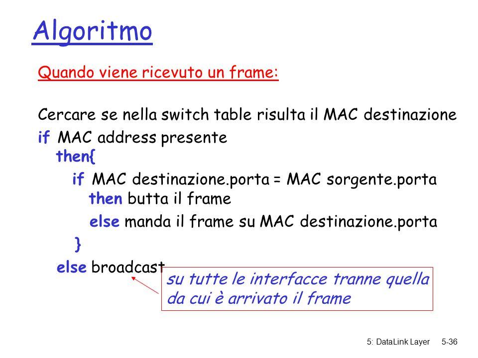 5: DataLink Layer5-36 Algoritmo Quando viene ricevuto un frame: Cercare se nella switch table risulta il MAC destinazione if MAC address presente then{ if MAC destinazione.porta = MAC sorgente.porta then butta il frame else manda il frame su MAC destinazione.porta } else broadcast su tutte le interfacce tranne quella da cui è arrivato il frame