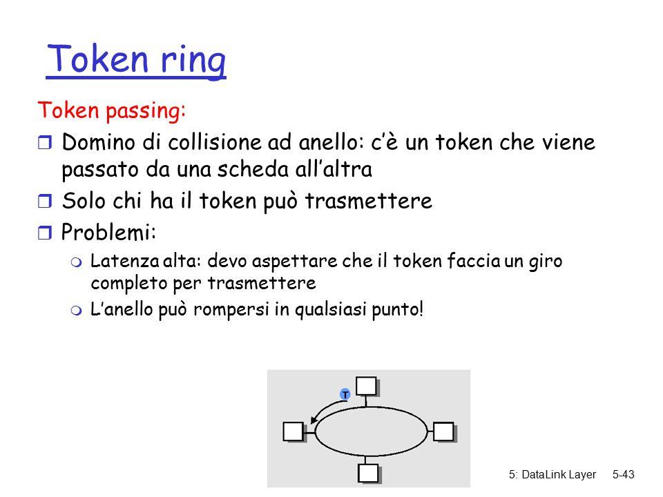 5: DataLink Layer5-43 Token ring Token passing: r Domino di collisione ad anello: c'è un token che viene passato da una scheda all'altra r Solo chi ha il token può trasmettere r Problemi: m Latenza alta: devo aspettare che il token faccia un giro completo per trasmettere m L'anello può rompersi in qualsiasi punto!