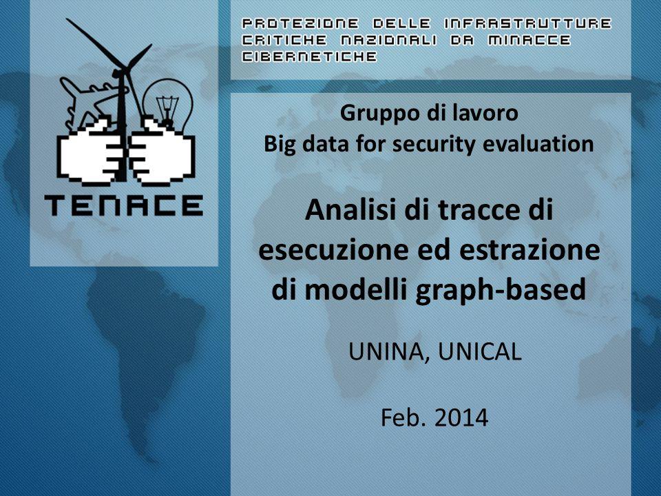 Gruppo di lavoro Big data for security evaluation Analisi di tracce di esecuzione ed estrazione di modelli graph-based UNINA, UNICAL Feb.