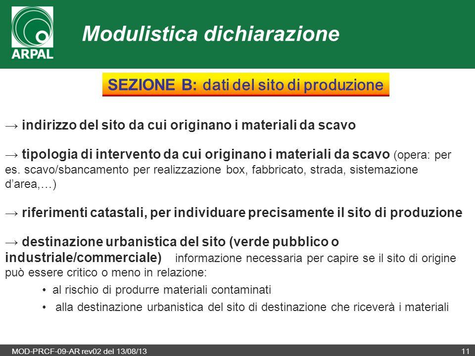MOD-PRCF-09-AR rev02 del 13/08/1311 → indirizzo del sito da cui originano i materiali da scavo → tipologia di intervento da cui originano i materiali