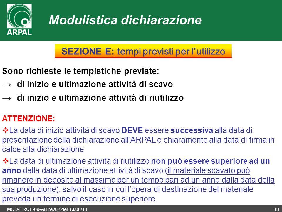 MOD-PRCF-09-AR rev02 del 13/08/1318 Sono richieste le tempistiche previste: → d i inizio e ultimazione attività di scavo → d i inizio e ultimazione at