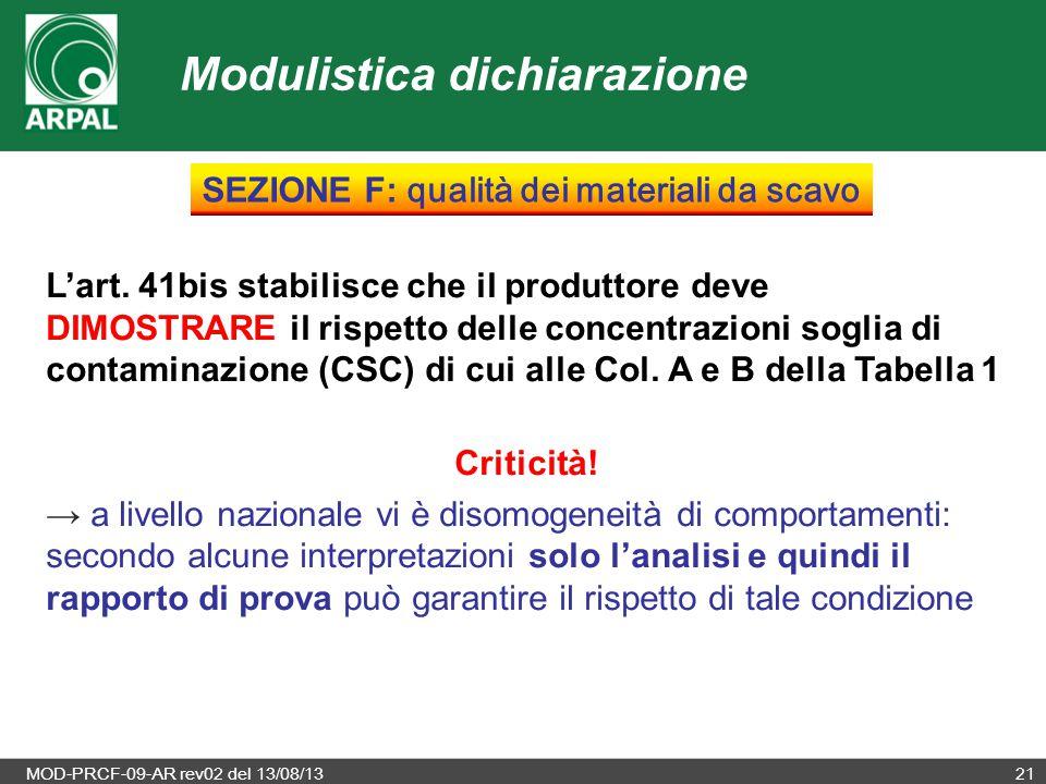 MOD-PRCF-09-AR rev02 del 13/08/1321 L'art. 41bis stabilisce che il produttore deve DIMOSTRARE il rispetto delle concentrazioni soglia di contaminazion
