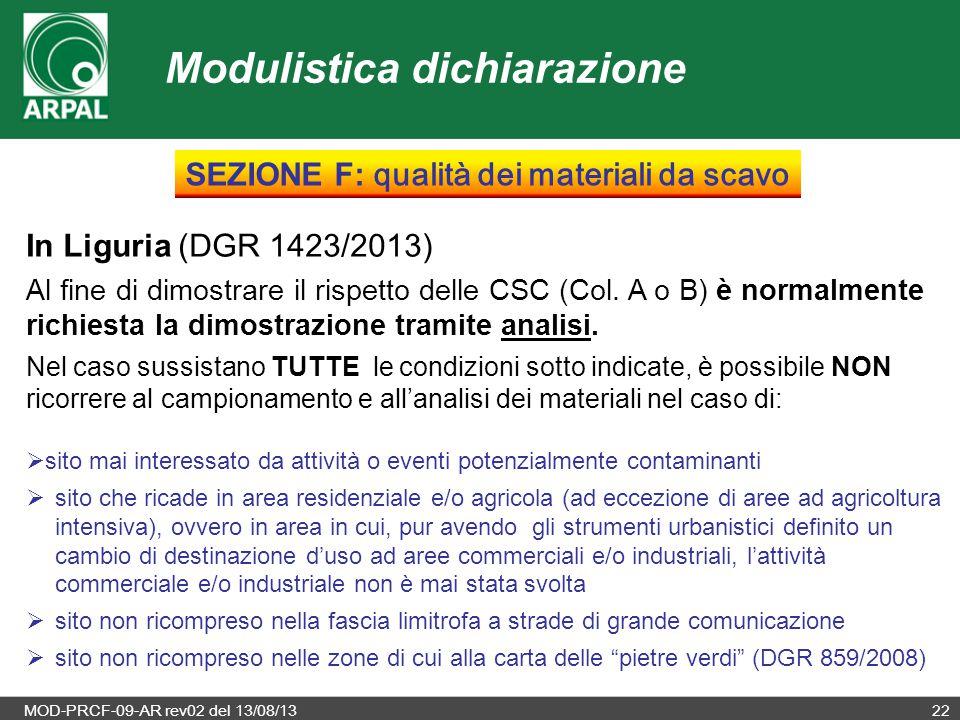 MOD-PRCF-09-AR rev02 del 13/08/1322 In Liguria (DGR 1423/2013) Al fine di dimostrare il rispetto delle CSC (Col. A o B) è normalmente richiesta la dim