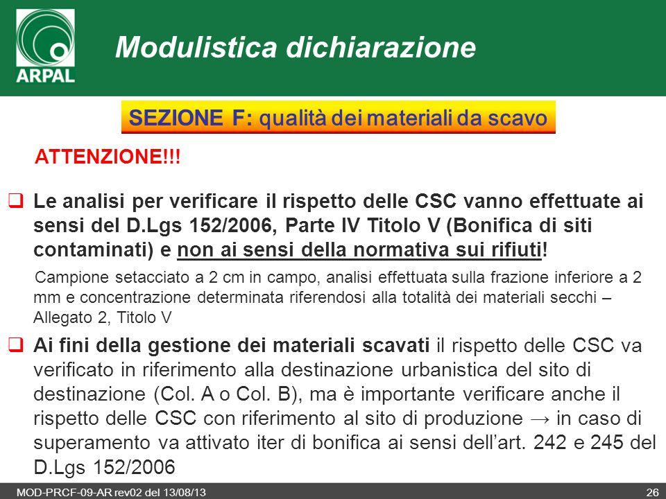 MOD-PRCF-09-AR rev02 del 13/08/1326 ATTENZIONE!!!  Le analisi per verificare il rispetto delle CSC vanno effettuate ai sensi del D.Lgs 152/2006, Part