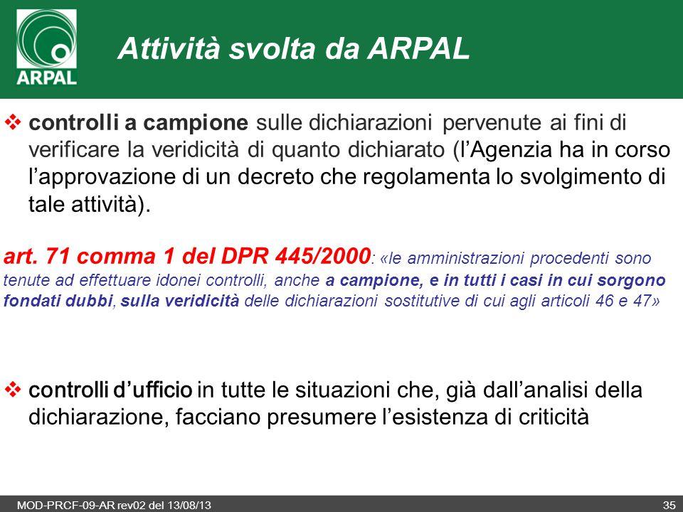 MOD-PRCF-09-AR rev02 del 13/08/1335  controlli a campione sulle dichiarazioni pervenute ai fini di verificare la veridicità di quanto dichiarato ( l'