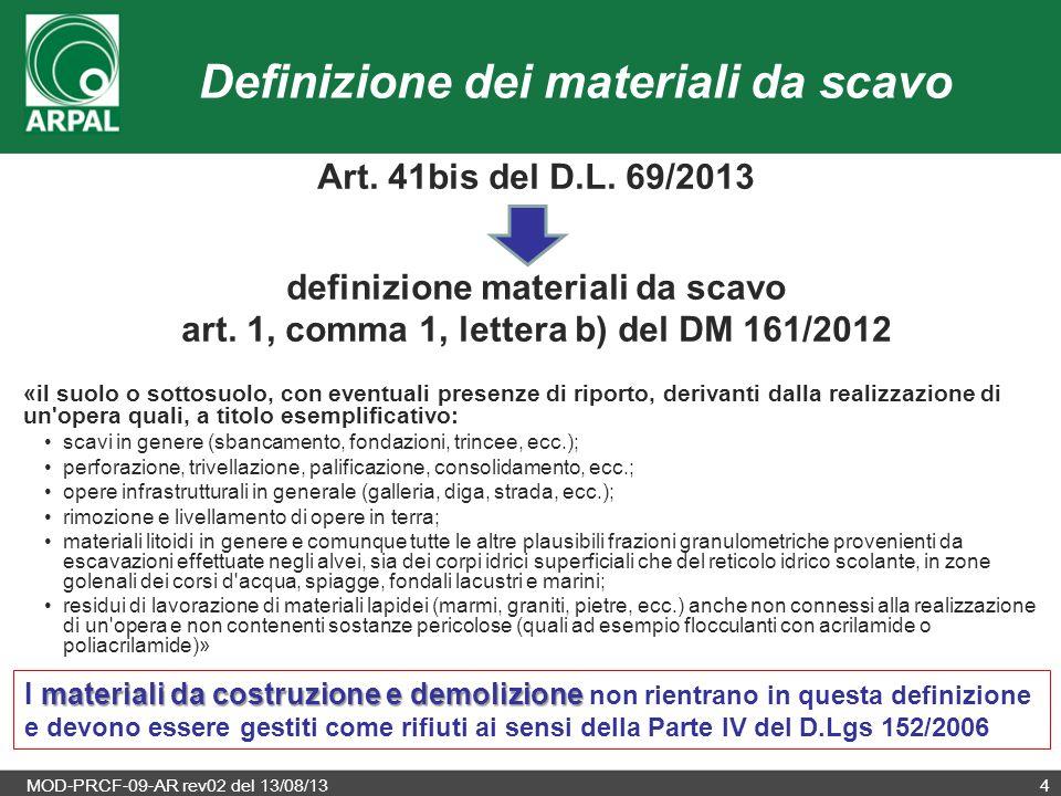 MOD-PRCF-09-AR rev02 del 13/08/134 Definizione dei materiali da scavo Art. 41bis del D.L. 69/2013 definizione materiali da scavo art. 1, comma 1, lett