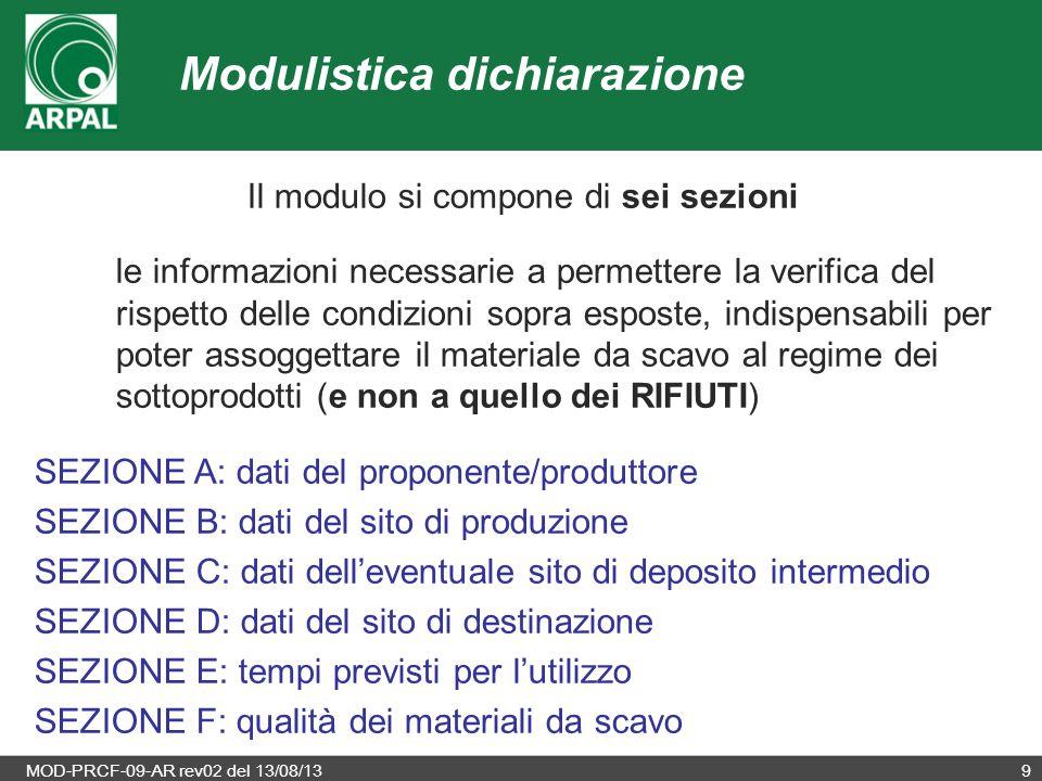MOD-PRCF-09-AR rev02 del 13/08/139 Il modulo si compone di sei sezioni le informazioni necessarie a permettere la verifica del rispetto delle condizio