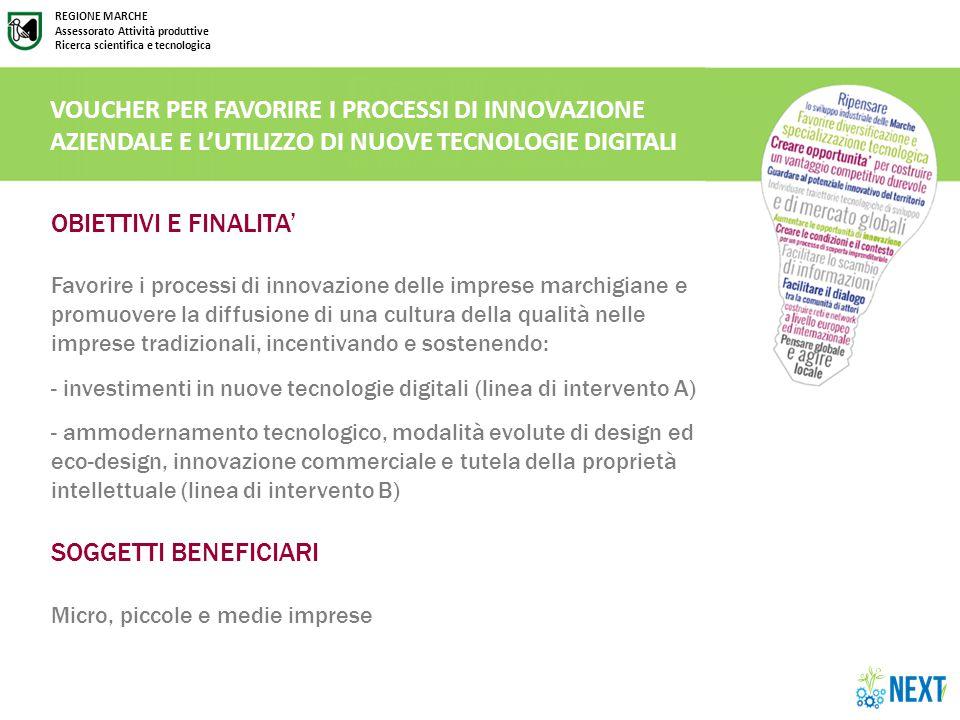 REGIONE MARCHE Assessorato Attività produttive Ricerca scientifica e tecnologica LINEA DI INTERVENTO A.