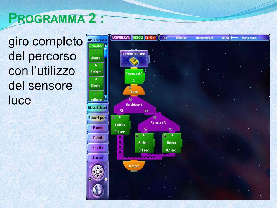 P ROGRAMMA 2 : giro completo del percorso con l'utilizzo del sensore luce