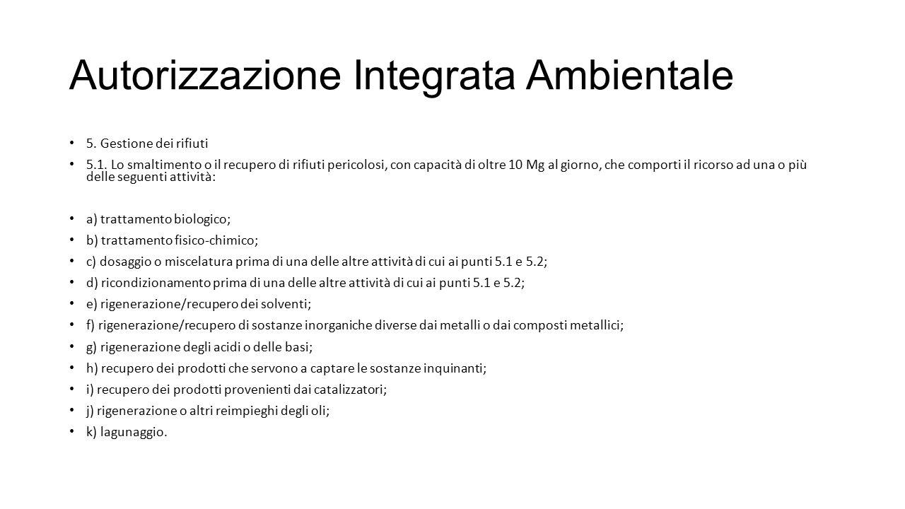 Autorizzazione Integrata Ambientale 5. Gestione dei rifiuti 5.1. Lo smaltimento o il recupero di rifiuti pericolosi, con capacità di oltre 10 Mg al gi