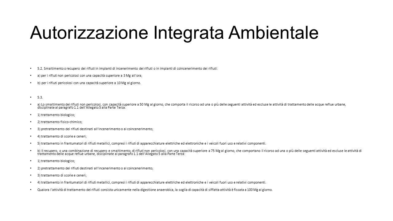 Autorizzazione Integrata Ambientale 5.2. Smaltimento o recupero dei rifiuti in impianti di incenerimento dei rifiuti o in impianti di coincenerimento