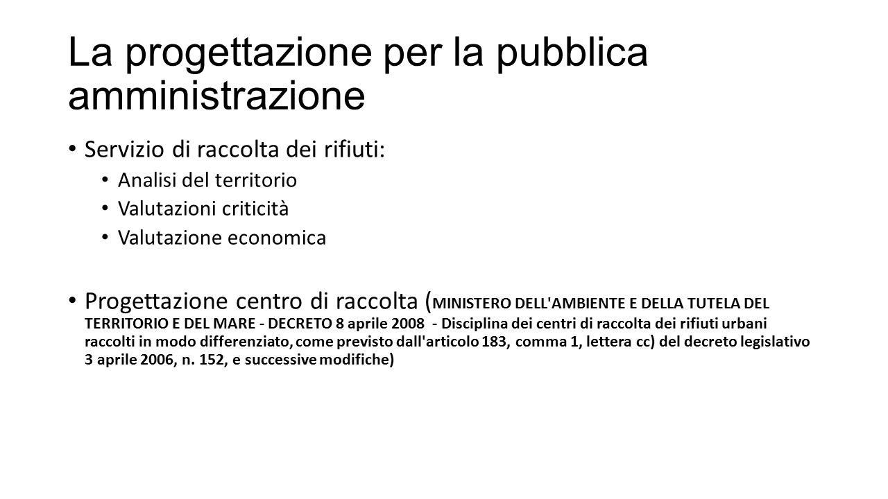 La progettazione per la pubblica amministrazione Servizio di raccolta dei rifiuti: Analisi del territorio Valutazioni criticità Valutazione economica