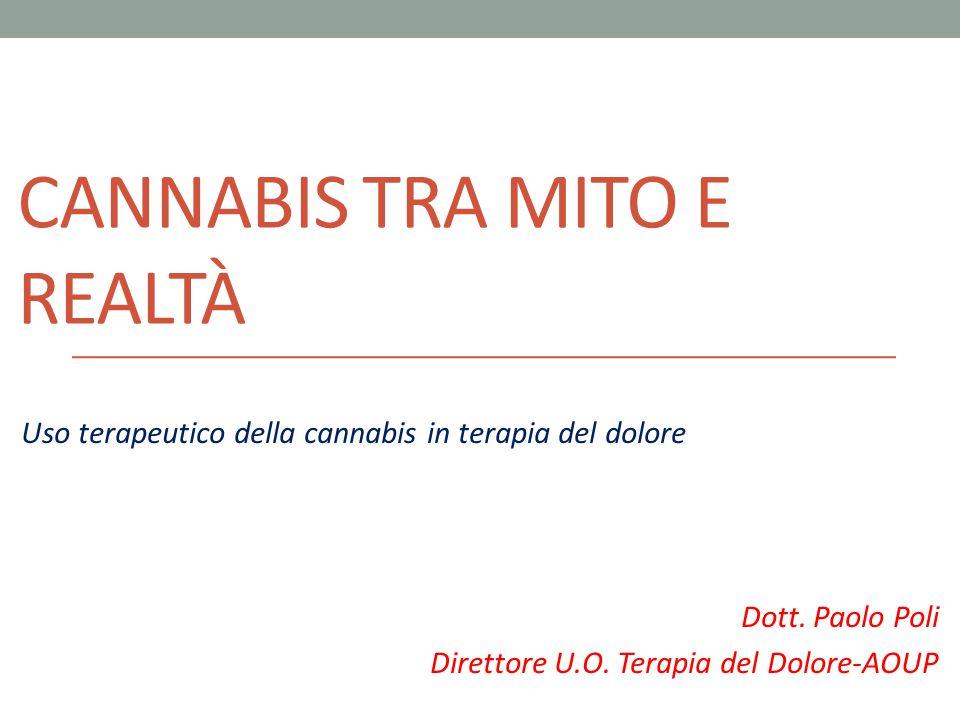CANNABIS TRA MITO E REALTÀ Uso terapeutico della cannabis in terapia del dolore Dott. Paolo Poli Direttore U.O. Terapia del Dolore-AOUP