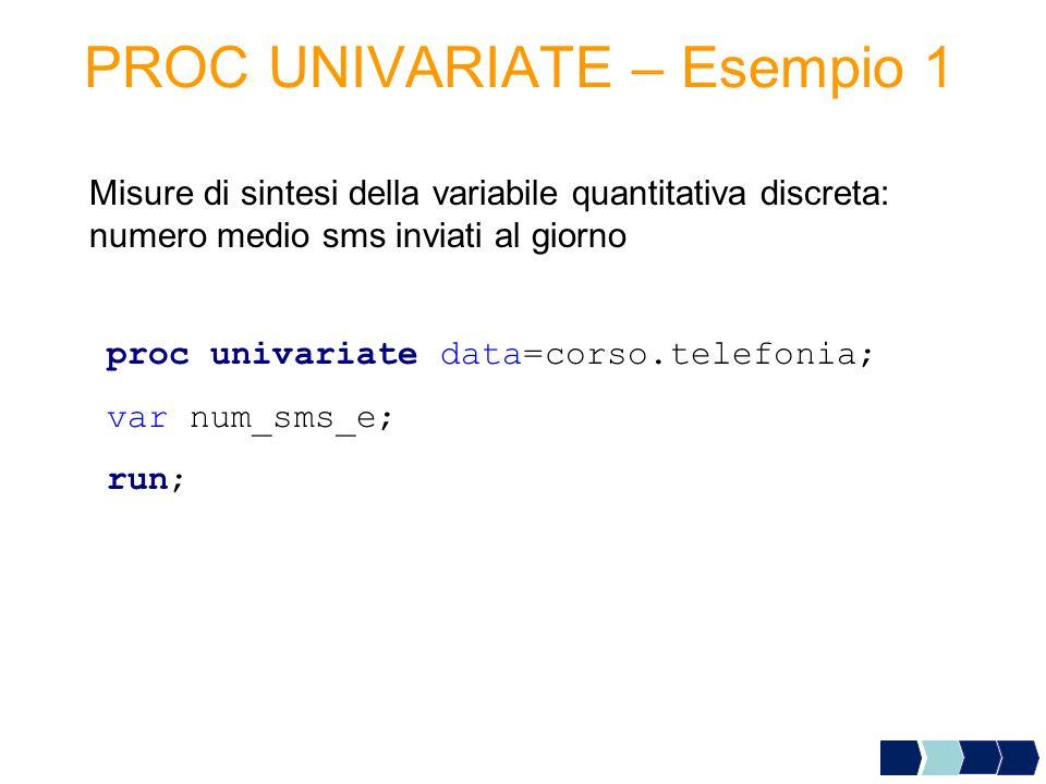 PROC UNIVARIATE – Esempio 1 Misure di sintesi della variabile quantitativa discreta: numero medio sms inviati al giorno proc univariate data=corso.tel