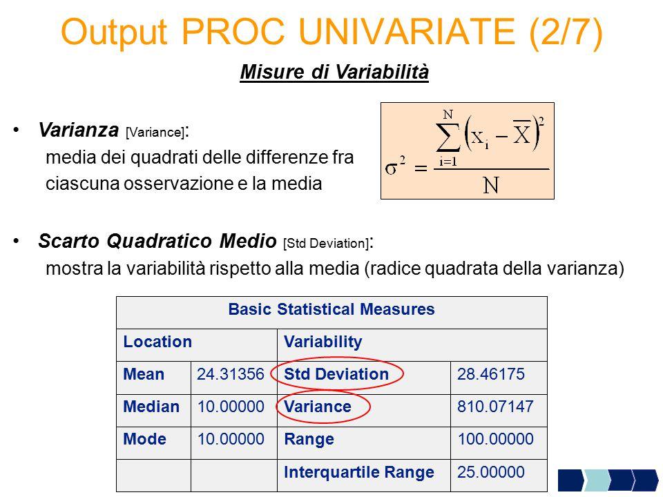 Output PROC UNIVARIATE (2/7) Misure di Variabilità Varianza [Variance] : media dei quadrati delle differenze fra ciascuna osservazione e la media Scar
