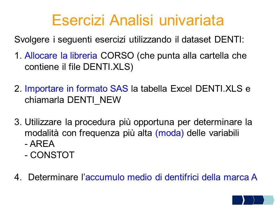 Esercizi Analisi univariata 1.Allocare la libreria CORSO (che punta alla cartella che contiene il file DENTI.XLS) 2.Importare in formato SAS la tabell