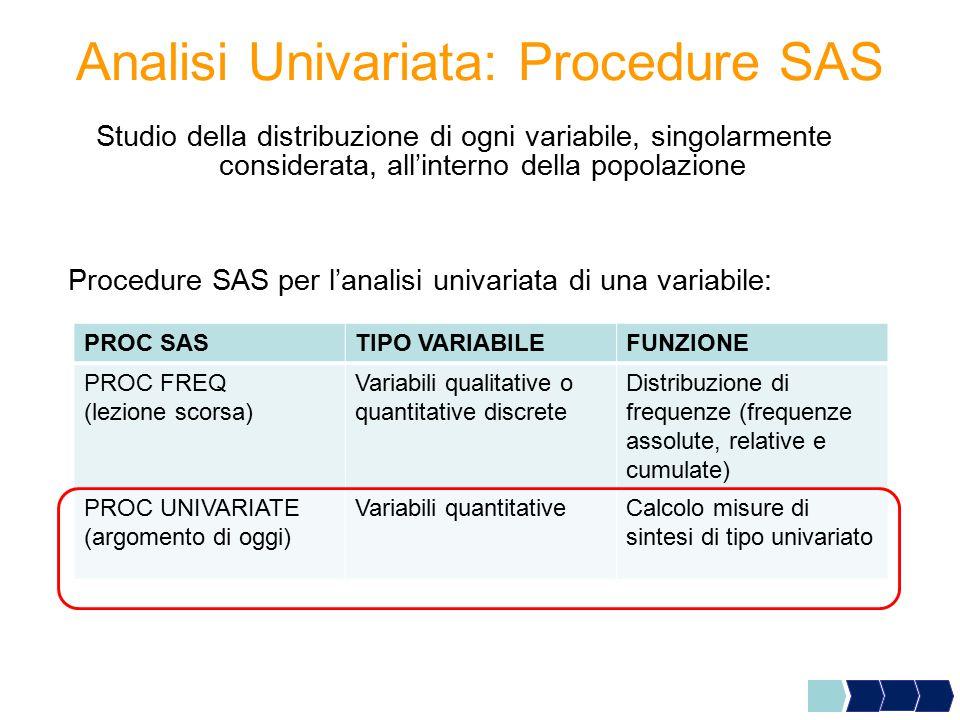 Analisi Univariata: Procedure SAS Studio della distribuzione di ogni variabile, singolarmente considerata, all'interno della popolazione Procedure SAS