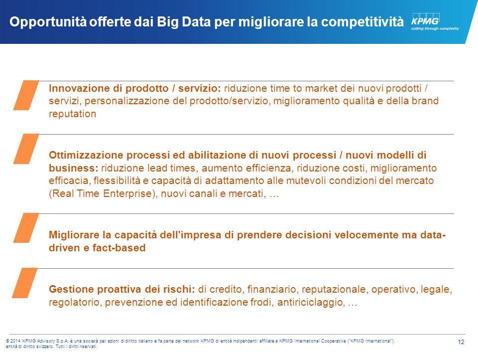 12 © 2014 KPMG Advisory S.p.A. è una società per azioni di diritto italiano e fa parte del network KPMG di entità indipendenti affiliate a KPMG Intern