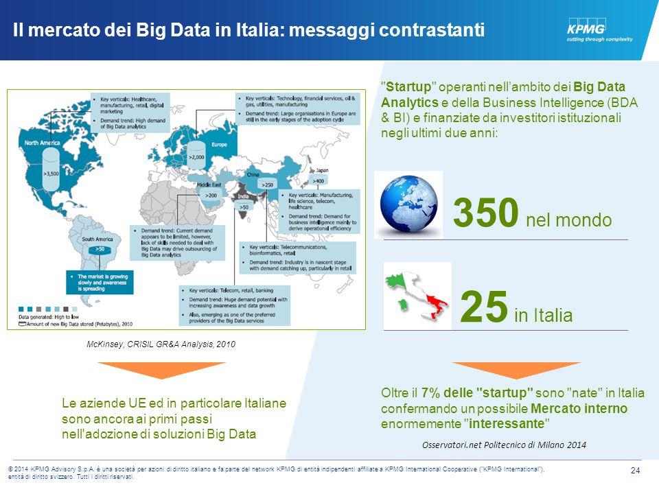 24 © 2014 KPMG Advisory S.p.A. è una società per azioni di diritto italiano e fa parte del network KPMG di entità indipendenti affiliate a KPMG Intern