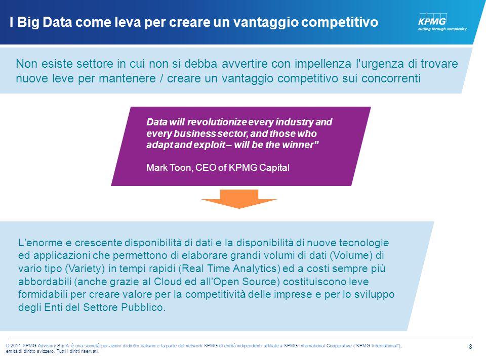 8 © 2014 KPMG Advisory S.p.A. è una società per azioni di diritto italiano e fa parte del network KPMG di entità indipendenti affiliate a KPMG Interna