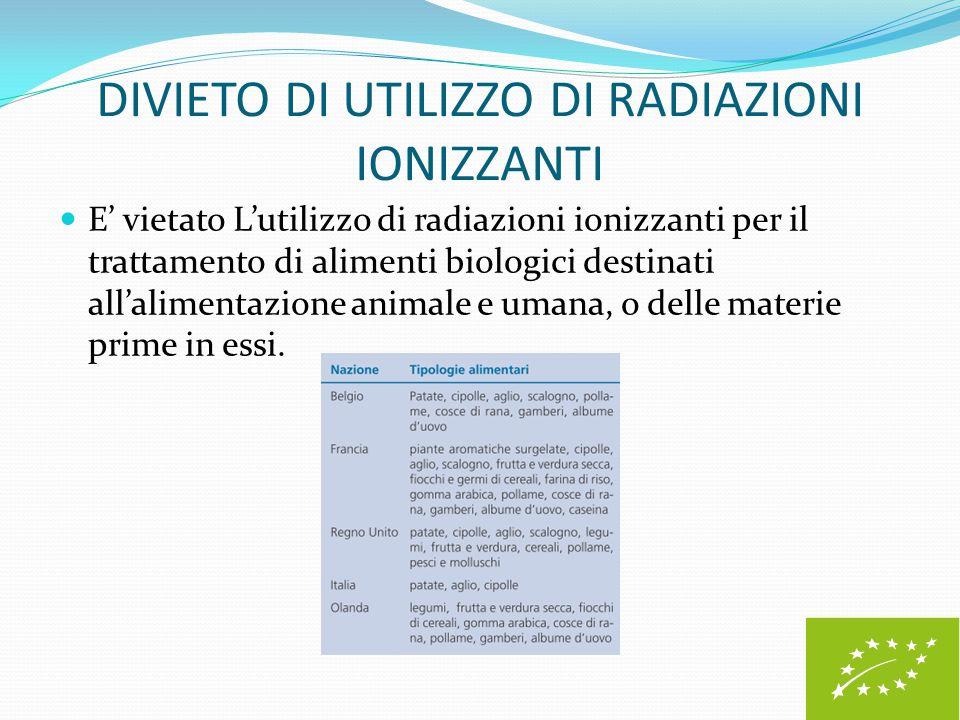 DIVIETO DI UTILIZZO DI RADIAZIONI IONIZZANTI E' vietato L'utilizzo di radiazioni ionizzanti per il trattamento di alimenti biologici destinati all'ali