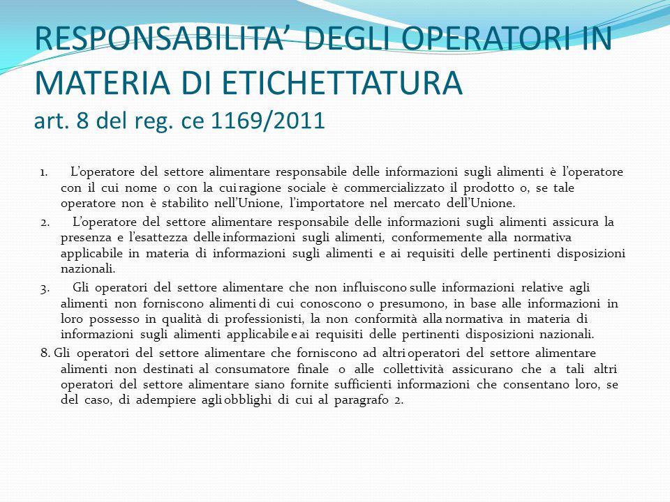 RESPONSABILITA' DEGLI OPERATORI IN MATERIA DI ETICHETTATURA art. 8 del reg. ce 1169/2011 1. L'operatore del settore alimentare responsabile delle info