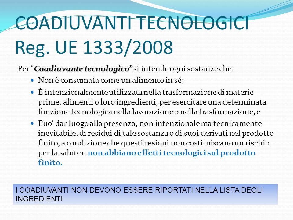 """COADIUVANTI TECNOLOGICI Reg. UE 1333/2008 Coadiuvante tecnologico"""" Per """"Coadiuvante tecnologico"""" si intende ogni sostanze che: Non è consumata come un"""