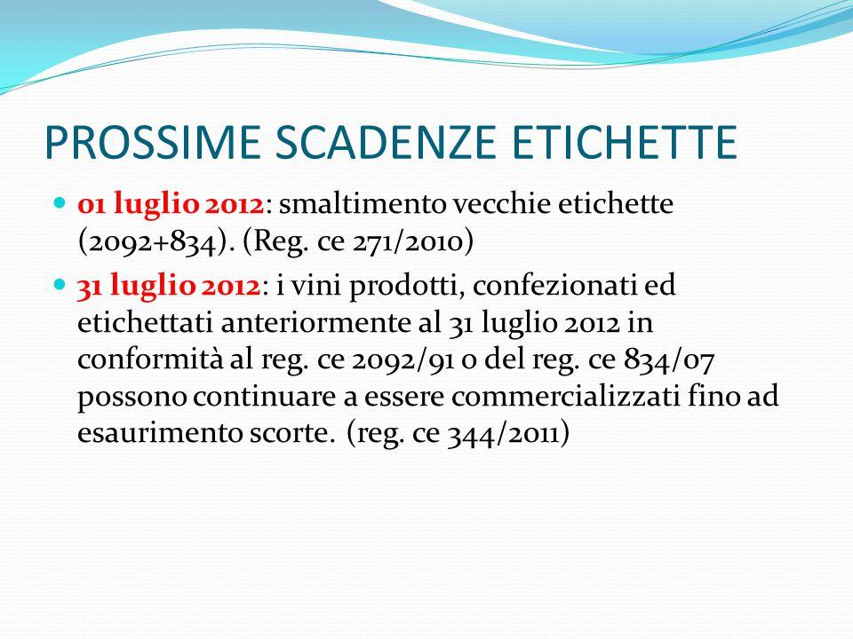 PROSSIME SCADENZE ETICHETTE 01 luglio 2012: smaltimento vecchie etichette (2092+834). (Reg. ce 271/2010) 31 luglio 2012: i vini prodotti, confezionati