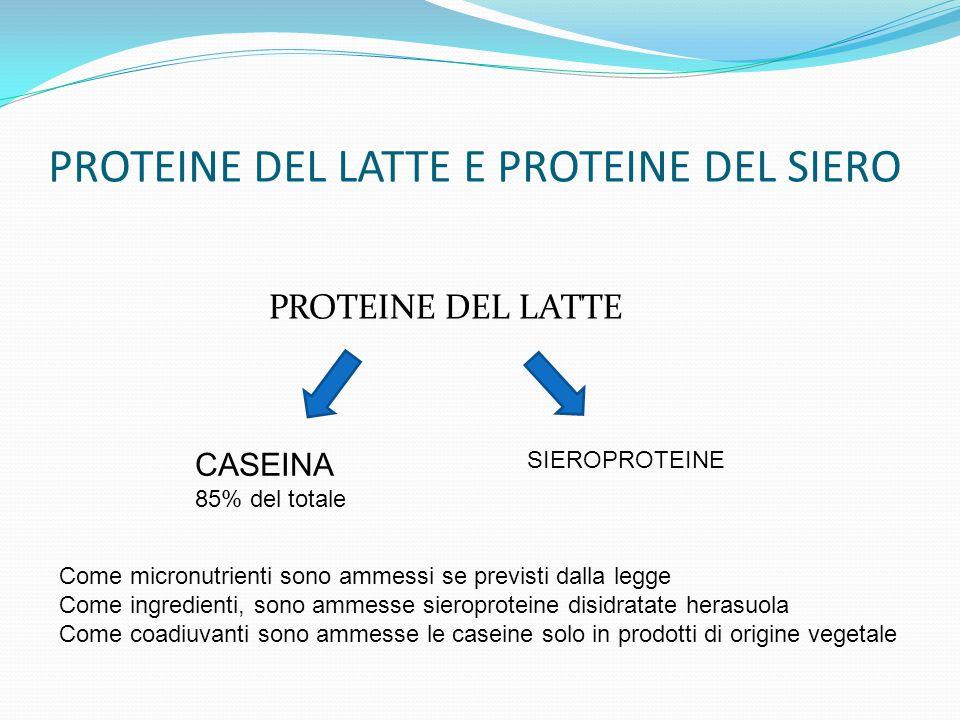 PROTEINE DEL LATTE E PROTEINE DEL SIERO PROTEINE DEL LATTE CASEINA 85% del totale SIEROPROTEINE Come micronutrienti sono ammessi se previsti dalla leg