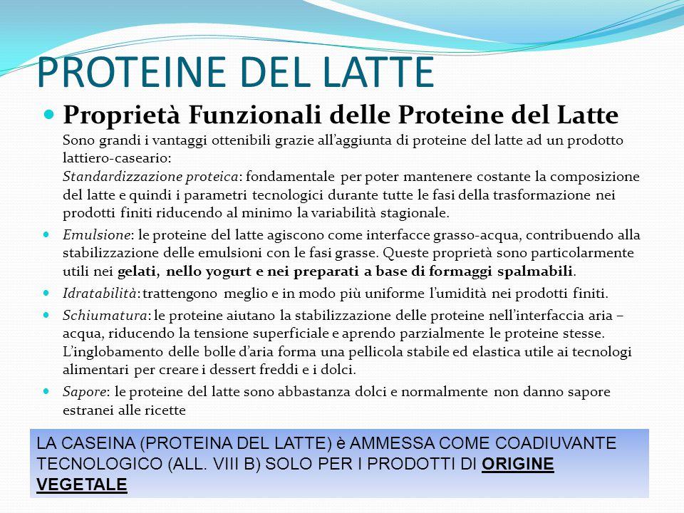 PROTEINE DEL LATTE Proprietà Funzionali delle Proteine del Latte Sono grandi i vantaggi ottenibili grazie all'aggiunta di proteine del latte ad un pro